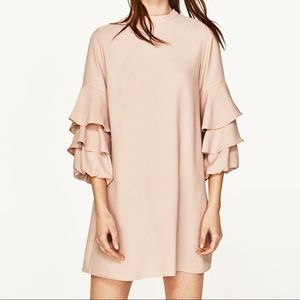 Zara Nude Pale Pink Dress with Ruffle Sleeves New